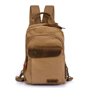 Men's Women's Leisure Canvas Small Sling Backpack Handbag Shoulder Bag Chest Pack