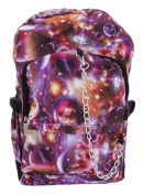 Space Galaxy Pattern Backpack Rucksack - Red / Purple School College Cosmos Bag