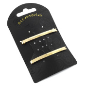 2 Gold Metal Slim Hair Clips AJ27509