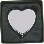 Personalised Engraved Heart Compact Hand Mirror with Gift Box!