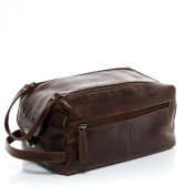 Scotch & Vain large washbag - necessaire BRISTOL - sponge bag tan-cognac leather