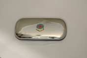 Polished chrome football club glasses case - Aston Villa