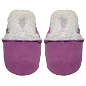 Soft suede baby girls slippers by Dotty Fish with Suede Soles. Pink.