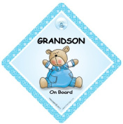 Grandson On Board, Blue Quilt, Car Sign, Baby On Board Sign, baby on board, Novelty Car Sign, Grandson Car Sign, Grandchild On Board Sign, Baby Car Sign, Baby On Board Car Signs