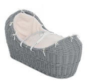 Luxury Grey Wicker Moses Basket with Folding Stand, with Cream Marshmallow Covers. Inc Free TRACKED Delivery