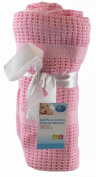 """""""First Steps"""" 100% Pure Soft Cotton Cellular Blanket 100x120cm [1x Pink]"""