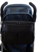 BTR Large Pram Buggy Buddy Stroller Organiser Changing Storage & Parent Bag - Black - Water Resistant, Universal Fit