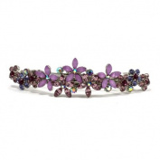 DoubleAccent Hair Jewellery Contrasting Crystal Flower Barrette Purple Colour