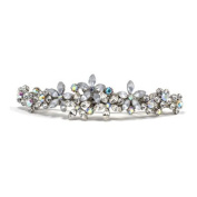 DoubleAccent Hair Jewellery Contrasting Simulated Crystal Flower Barrette, White