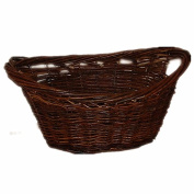 CrazyGadget® Large Wicker Dark Willow Basket Oval Storage with Handle for Log Toy Laundry Hamper