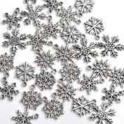 Good2deal 30x Mixed Tibetan Silver Various Snowflake Charm Beads Winter Xmas Finding