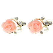 Happy Will Cute Mini Rose Rhinestone Pearl Eardrop Earring Stud for Women Teen Girls with Stylus