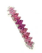 Women's Rhinestone Metal Hair Barrette Clip Hair Pin Antique Silver IMB2048