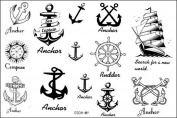 SPESTYLE waterproof non-toxic temporary tattoo stickerslatest new design new release Temporary Tattoo waterproof anchor nautical temporary tattoos