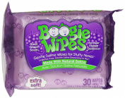 Boogie Wipes Natural Saline Kids and Baby Nose Wipes for Cold and Flu, Grape Scent, 30 Count