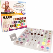 "Glitter Tattoo Kit by Custom Body Art® 26 Colour ""Master"" Glitter & Body Art Set with 26 Large Glitter Colours, 50 Uniquely Themed Temporary Tattoo Stencils, 4 Glue Applicator Bottles & 8 Glitter Brushes. The Perfect Kit for Fashionable Party Fu .."