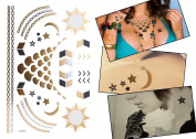 USTEK® Vogue Temporary Tattoo Metallic Gold Silver Black Necklace Bracelet Jewellery Totem Body Art Removable Waterproof