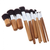 LiteXim 11 PCs Bamboo Handle Makeup Brush Set Powder Foundation Blusher Cosmetics Brushes Kit With Bag Stay Young and Stunning Forever