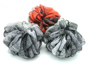 Beautiful Large 60ml Mesh Pouffe Bath Sponge [3 pack] Grey Black Red Eco-friendly