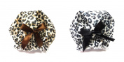 Black & Brown Leopard Print Premium Lined Shower Caps, Set of 2