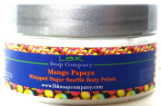 Mango Papaya Whipped Sugar Bathing Souffle`Body Polish Whipped Soap 240ml by LBK Soap Company