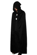 AWEN Black Halloween Costume Theatre Prop Death Hoody Cloak Devil Long Tippet Cape