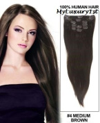 Remy Double Drawn Dark Medium Brown Clip in 119g Real Human Hair Extensions 60cm Length