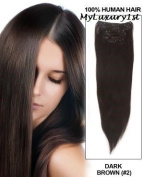 Remy Double Drawn Dark Chocolate Brown Clip in 119g Real Human Hair Extensions 60cm Length