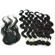 210g/pack Body Wave Unprocessed Peruvian Hair Weft Extensions 6pcs 41cm 46cm 50cm w/ 1pc Top Lace Closure