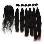 210g/pack Natural Wave Unprocessed Peruvian Hair Weft Extensions 6pcs 30cm 36cm 41cm w/ 1pc Top Lace Closure