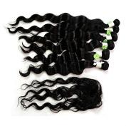 Natural Black Loose Wave 210g 6pcs 36cm 41cm 46cm Peruvian Virgin Hair Extension w/ 1pc Top Closure