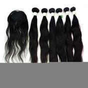 210g 6pcs 36cm 41cm 46cm + 1pc Top Closure Virgin Peruvian Human Hair Natural Wave Extensions Machine Weft No Dyed