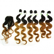 210g/pack Body Wave Ombre T1B/30 Peruvian Hair Weft Extensions 6pcs 41cm 46cm 50cm w/ 1pc Top Lace Closure