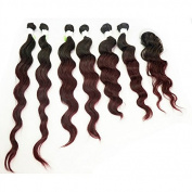 210g/pack Loose Wave Ombre T1B/99J Peruvian Hair Weft Extensions 6pcs 36cm 41cm 46cm w/ 1pc Top Lace Closure