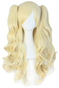 God's Hand Blonde 70cm Long Full Curly Cosplay Wig Heat Resistant Hair,Clip On Ponytails Wigs with Free Wig Cap for Costume Party, Harley Quinn Cosplay,Halloween Decor