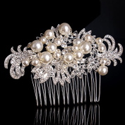 Pearls Rhinestones Bridal Wedding Hairpiece with Flowers Comb