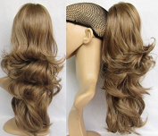 Liaohan® Claw on Brown Ponytail Hair Loose Wavy Ponytail Extensions Highlight Pony Tail #18T Medium Brown Hair Tail 50cm 150gram