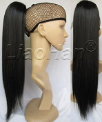 Liaohan® Claw on Black Ponytail Hair Straight Long Ponytail Extensions Highlight Pony Tail #1 Black Hair Tail 60cm 150gram