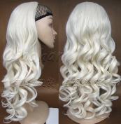 Liaohan® Half Wig Hair Fall Long Curly Wig Fall Highlights White Hair Wig Fall Curly Hair Wigs for Women #60 White Wig