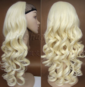 Liaohan® Half Wig Hair Fall Long Curly Wig Fall Highlights Blonde Hair Wig Fall Curly Hair Wigs for Women #613 Light Blonde Wig