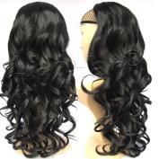 Liaohan® Fashion Half Wig Hair Fall Black Colour Long Curly Wig Fall Curly Hair Wigs for Women #1B Black Wig