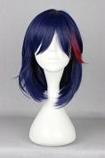 springcos 40cm Kill La Kill Matoi Ryuuko Cosplay Wig for Women Dark Blue mixed Red