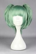 springcos Assassination Classroom Kayano Kaede Cosplay Wig Green + 2 Ponytails