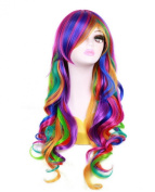New Fashinable Long Rainbow Rock Ombre Spring Bouquet Cosplay Girls Party Wig