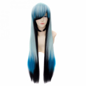 Toptheway Ombre Black Mixed Blue Natural Long Straight Cosplay Party Synthetic Wig