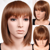 S-noilite Classy Bob Full Wig Short Light Brown Wigs Heat Resistant Hair Women Lady Daily use US Post