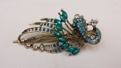 Gorgeous Vintage Jewellery Crystal Rhinestone Peacock Fashion Hair Clips Hair Pins Hair Sticks - Large Size - Emerald Colour -For Hair Beauty Tools