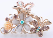 New Metal Alloy Flower Design with Butterfly Hair Claw Clip in clorlful Colour