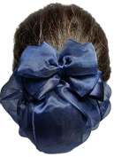 Women Blue Flower Bow Hair French Clip Snood Net Bun Cover Barrette