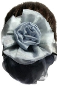 Women Grey Flower Bow Hair French Clip Snood Net Bun Cover Barrette